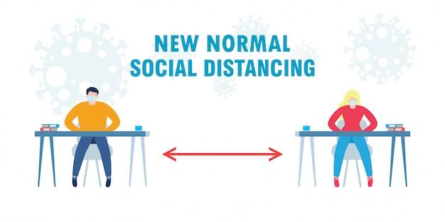 Zurück in die schule für neuen normalen lebensstil soziale distanzierung im klassenzimmer konzept, präventionstipps infografik von coronavirus 2019 ncov. junge und mädchen tragen maske sitzen auf dem schreibtisch im klassenzimmer