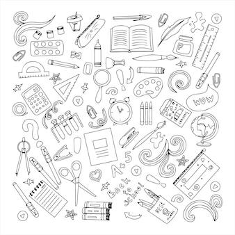 Zurück in die schule großes vektor-doodle-set für das büro handgezeichnete schulmaterialien
