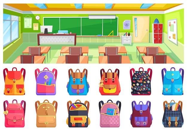 Zurück in die schule, klassenzimmer und rucksack