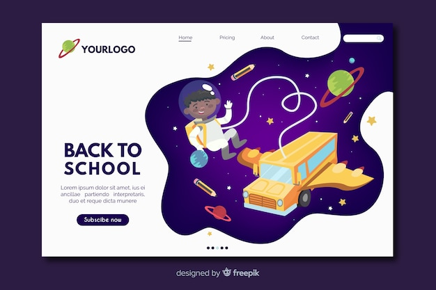 Zurück in die schule, landing page web template