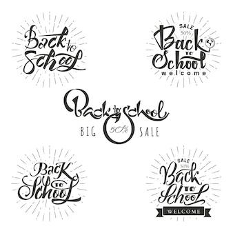 Zurück in die schule - logo oder abzeichen mit hilfe von schriftzug und kalligraphie fähigkeiten gemacht