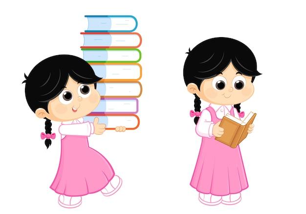 Zurück in die schule, mädchen lesen und bücher tragen