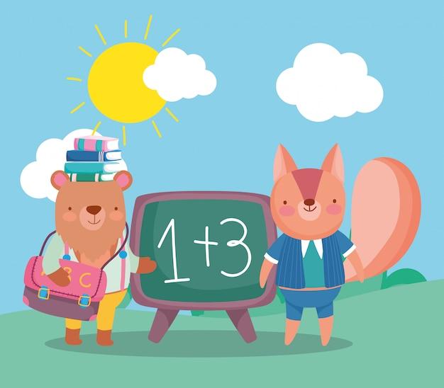 Zurück in die schule, mit büchern auf dem kopf und eichhörnchen-tafelrucksack tragen