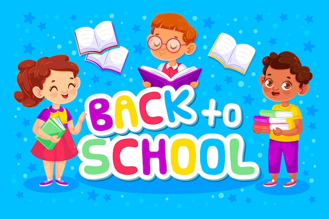 Zurück in die schule mit kindern und büchern