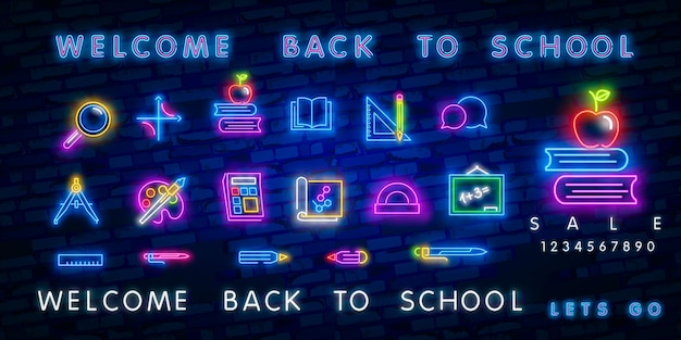 Zurück in die schule mit leuchtreklamen