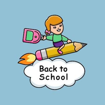Zurück in die schule mit mädchen auf einem bleistiftraketen-t-shirt fröhlicher druck