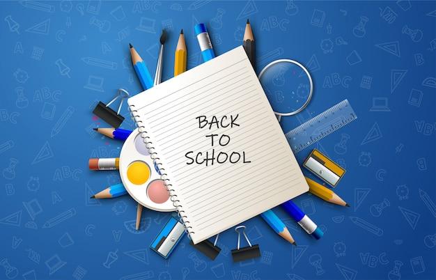 Zurück in die schule mit papier mit schrift und illustration von schulwerkzeugen.