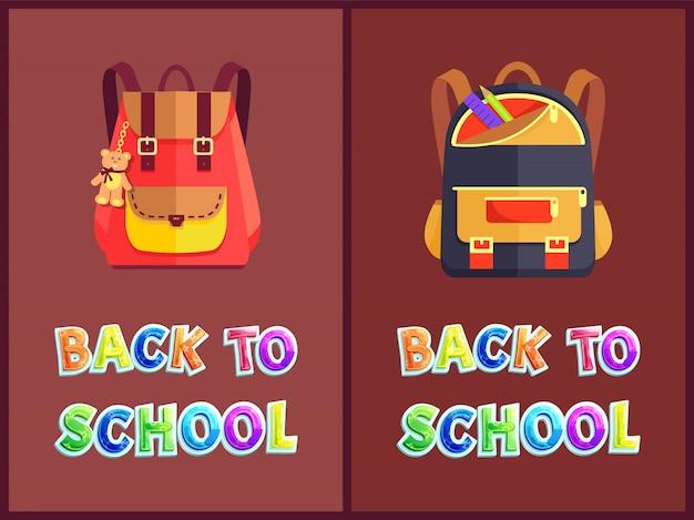 Zurück in die schule mit rucksäcken oder rucksäcken