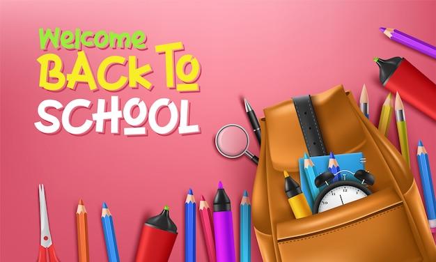 Zurück in die schule mit schulgegenständen und elementen