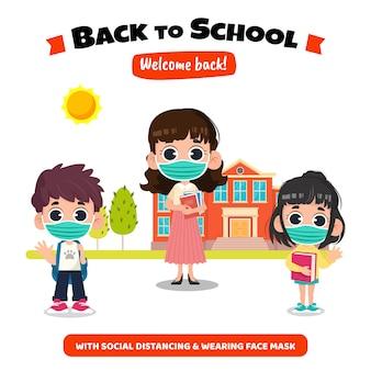 Zurück in die schule mit sozialem distanzkonzept