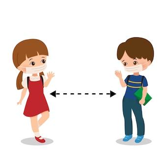 Zurück in die schule mitten im konzept der koronavirus-pandemie. schulmädchen und -junge tragen maske und halten körperliche distanz in neuer normalität. flacher stil lokalisiert auf weiß