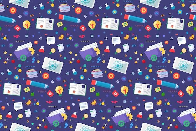 Zurück in die schule nahtlose muster mit doodle-tools: stift, offene bücher, lehrbücher und wissenschaftssymbole. bildungselemente vorlage hintergrund. lernkonzept. vektor-illustration
