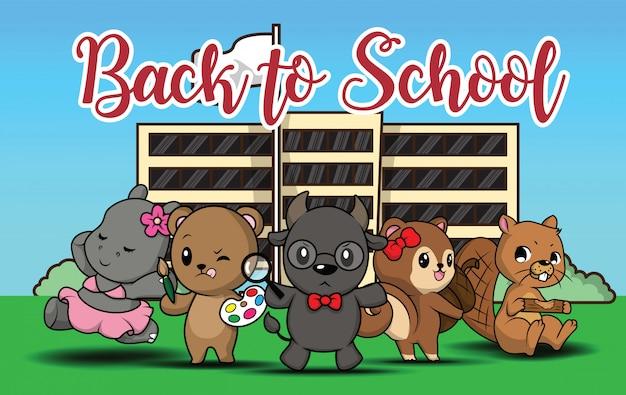 Zurück in die schule., niedlichen tier cartoon.