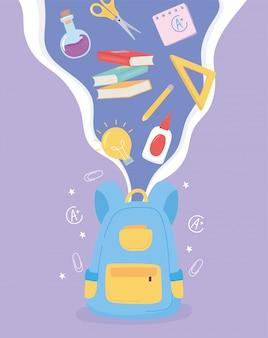 Zurück in die schule, rucksack klebebücher lineal bleistifte lernobjekte cartoon