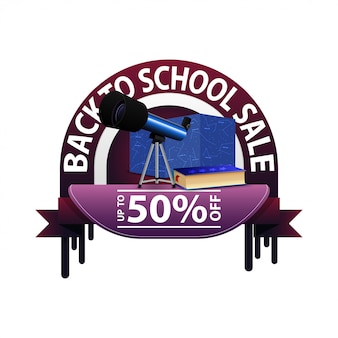 Zurück in die schule, runde rabatt-banner für ihre website mit teleskop