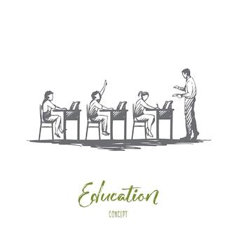 Zurück in die schule, studium, bildung, wissen, lernkonzept. hand gezeichnete schüler im klassenzimmer während der unterrichtskonzeptskizze.