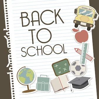 Zurück in die schule über blätter notebook hintergrund