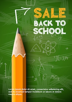 Zurück in die schule verkauf poster bleistift auf tafel hintergrund vektor-illustration
