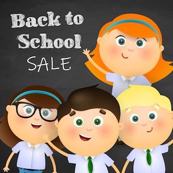 Zurück in die schule, verkauf schriftzug mit glücklichen jungen und mädchen
