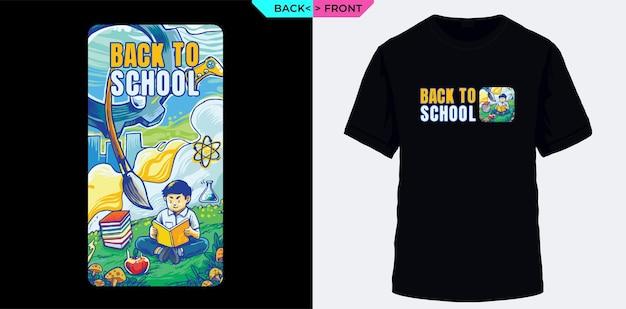 Zurück in die schule vermisse das lernen, das für den siebdruck von t-shirts geeignet ist