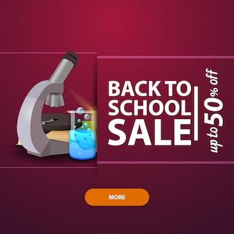 Zurück in die schule, werbung und promotionen mit dem mikroskop