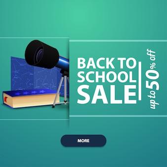 Zurück in die schule, werbung und promotionen mit dem teleskop