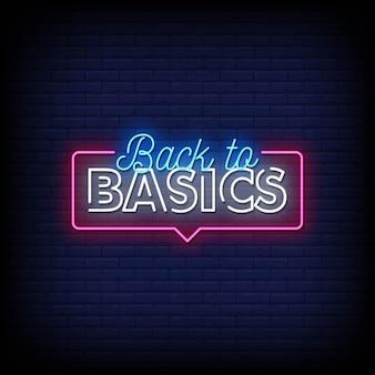 Zurück zu basic neon signs style text