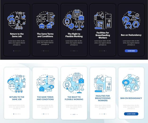 Zurück zu den arbeitsrechten dunkler, heller onboarding-bildschirm der mobilen app-seite