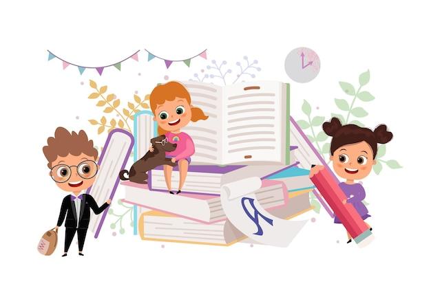 Zurück zu den flachen cartoon-illustrationen der schuletag des wissens schüler mit bücher-buch-liebhabern Premium Vektoren