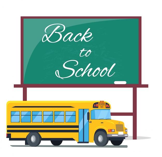 Zurück zu der schule geschrieben auf grüne tafel, bus