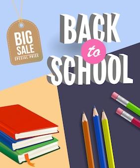 Zurück zu großem verkaufsplakat der schule mit notizbüchern