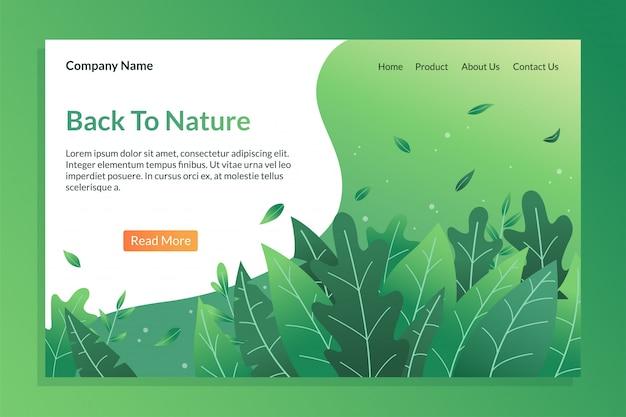 Zurück zu naturlandungsseite mit blattillustration