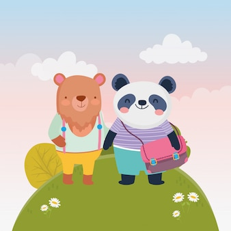 Zurück zu schulbildung niedlichen bären und panda mit rucksack natur blumen vektor-illustration