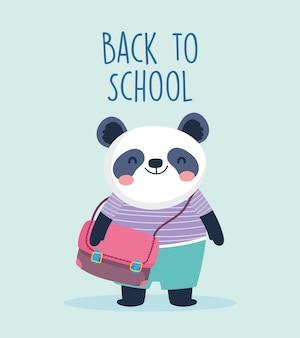 Zurück zu schulbildung niedlichen kleinen panda mit schultasche vektor-illustration