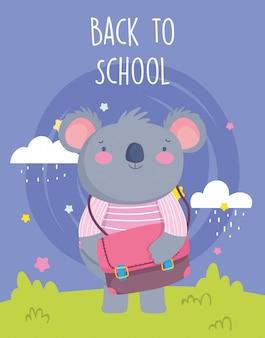 Zurück zu schulbildung niedlicher koala mit kleidung und schultasche