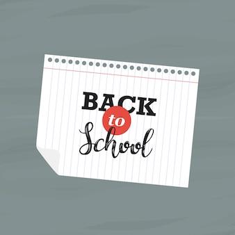 Zurück zu schule auf notizbuchblatt