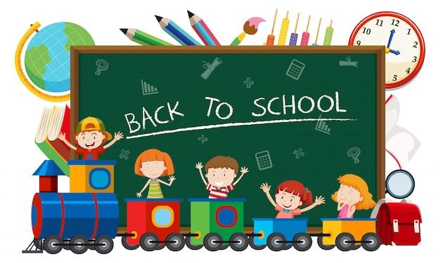 Zurück zu schule auf schultafel mit kindern im zug