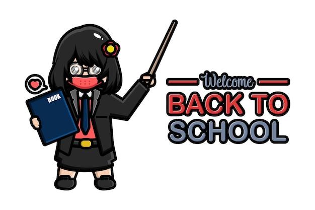 Zurück zu schule banner lehrer mit maske Premium Vektoren