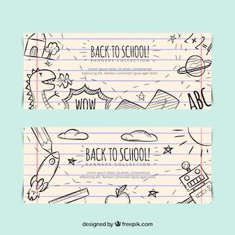 Zurück zu schule banner mit kinder zeichnungen