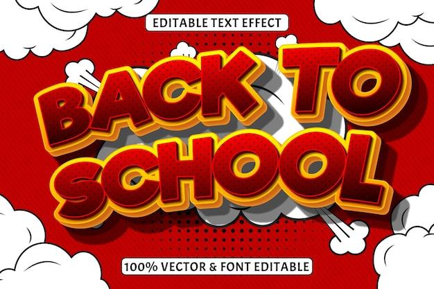 Zurück zu schule bearbeitbarer texteffekt 3 dimensionen prägen comic-stil