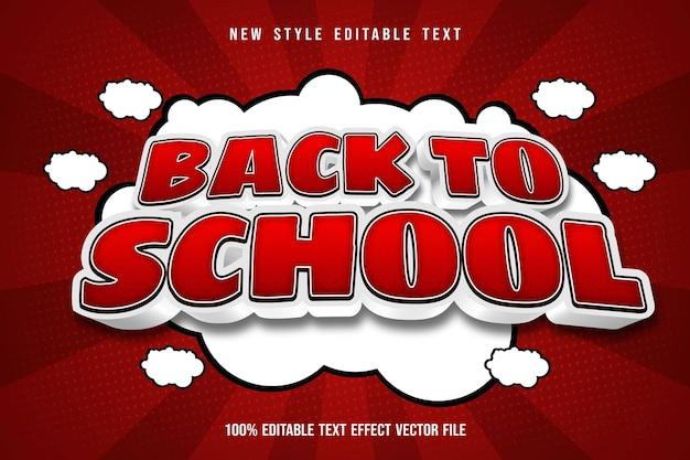 Zurück zu schule bearbeitbarer texteffekt cartoon roter stil