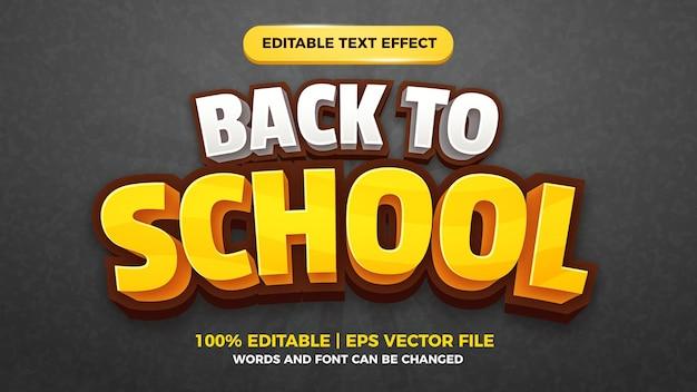 Zurück zu schule bearbeitbarer texteffekt für cartoon-comic-spieltitel-stil-vorlagentafel black