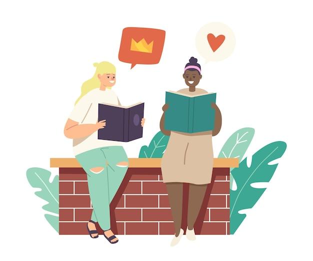 Zurück zu schule, bildung, wissenskonzept. kleine kinder, die bücher lesen, mädchen teenager-charaktere studieren, college-lernklassen, schulkinder lernen hausaufgaben. cartoon-vektor-illustration
