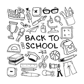 Zurück zu schule doodle icons sammlung