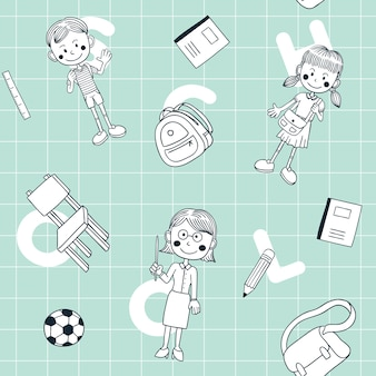 Zurück zu schule doodle seamless pattern