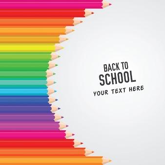 Zurück zu schule-farbigem bleistift-hintergrund