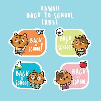 Zurück zu schule flache illustration niedlichen katze symbol aufkleber set