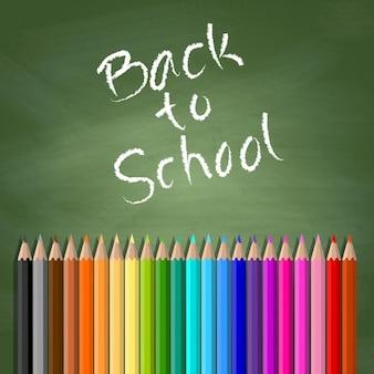 Zurück zu schule hintergrund mit tafel und farbstifte