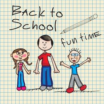 Zurück zu schule ikonen mit kindervektorillustration