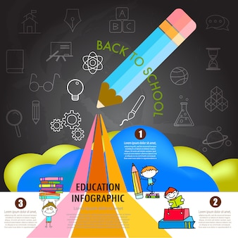 Zurück zu schule infographik gestaltungselement